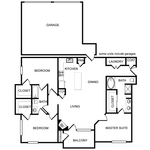 Three-Bedroom Floor Plan at Pavilion Townplace, Dallas, TX, 75209