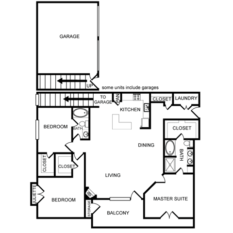 Three-Bedroom Floor Plan at Pavilion Townplace, Dallas, TX