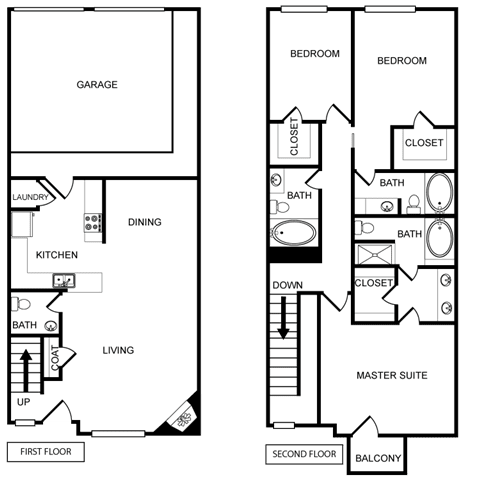 Three-Bedroom Floor Plan at Pavilion Townplace, Dallas, 75209