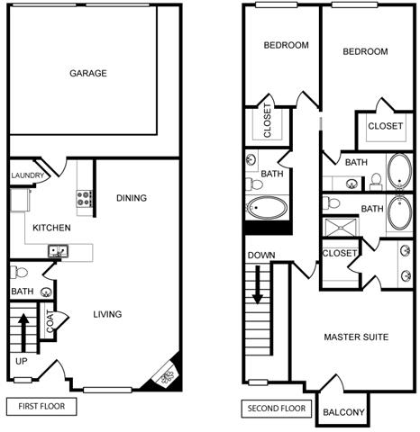 Three-Bedroom Floor Plan at Pavilion Townplace, Texas, 75209