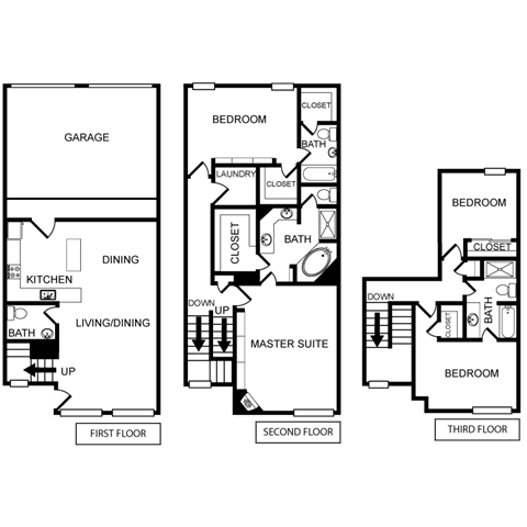 Four-Bedroom Floor Plan at Pavilion Townplace, Dallas, Texas