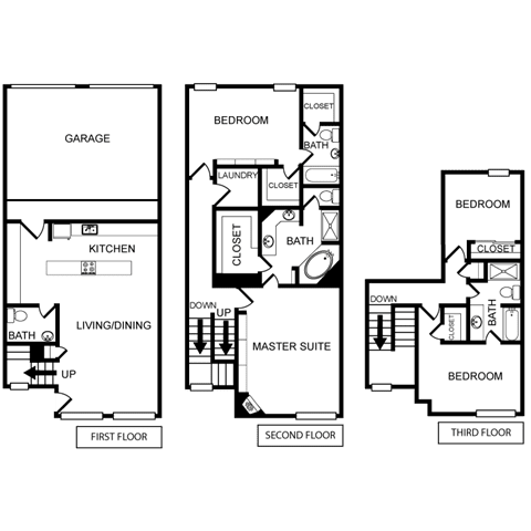 Four-Bedroom Floor Plan at Pavilion Townplace, Dallas