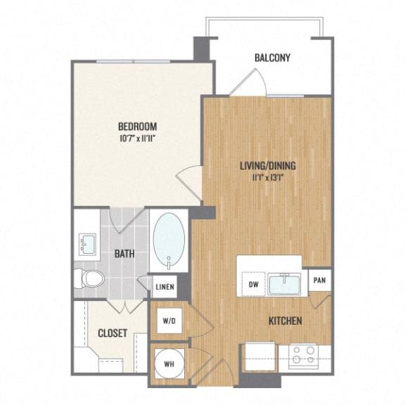 A1 One-Bedroom Floor Plan at Berkshire Amber, Texas