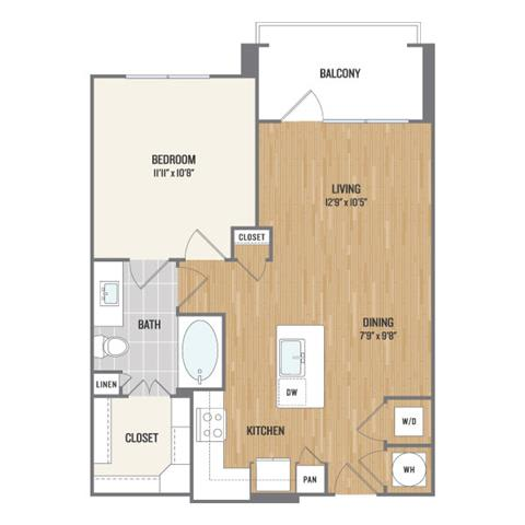 One-Bedroom Floor Plan at Berkshire Amber, Dallas, Texas