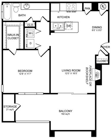 A2 Floor Plan at San Marin, Austin, 78759