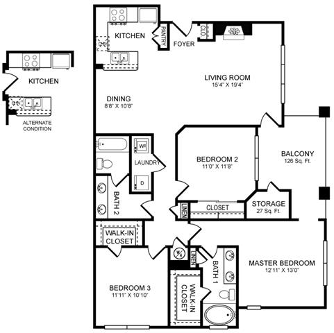 H2 Floor Plan at San Marin, Texas, 78759