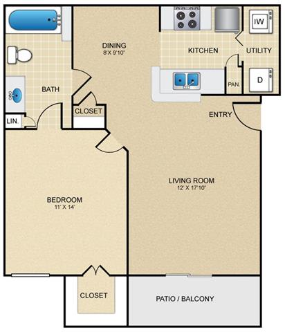 A2 Floor Plan at Estates at Bellaire, Houston, TX, 77081