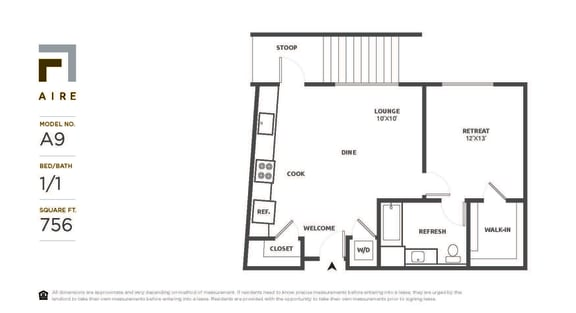 A9 Floor Plan at Aire, San Jose, 95134