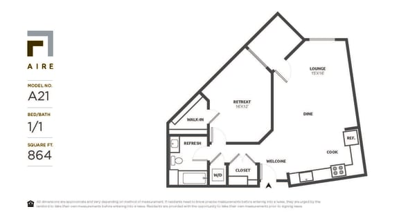 A21 Floor Plan at Aire, San Jose, CA