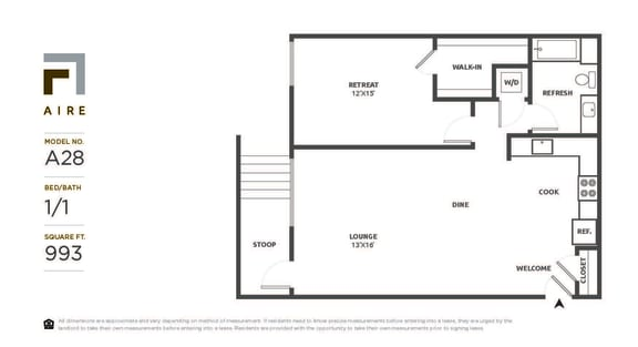 A28 Floor Plan at Aire, San Jose