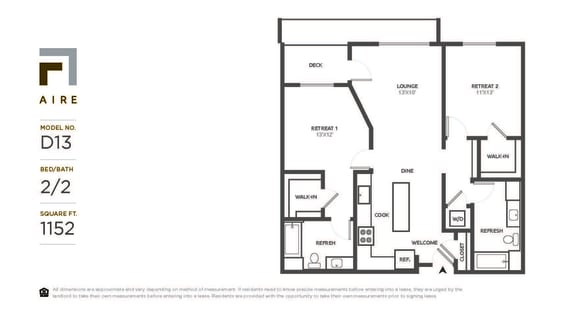 D13 Floor Plan at Aire, San Jose, CA, 95134