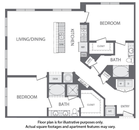 Floor Plan  M - 2 Bedroom 2 Bath Floorplan at Windsor at Cambridge Park, Cambridge, Massachusetts