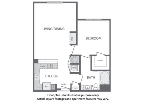 Floor Plan  D - 1 Bedroom 1 Bath Floorplan at Windsor at Cambridge Park, 02140, MA