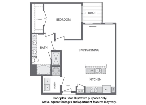 Floor Plan  E - 1 Bedroom 1 Bath Floorplan at Windsor at Cambridge Park, Cambridge, 02140