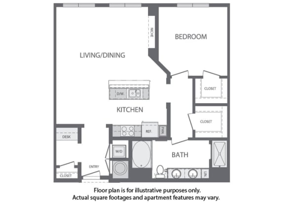Floor Plan  F - 1 Bedroom 1 Bath Floorplan at Windsor at Cambridge Park, Cambridge, MA