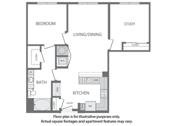 Floor Plan  H - 2 Bedroom 1 Bath Floorplan at Windsor at Cambridge Park, 160 Cambridge Park Drive, Cambridge
