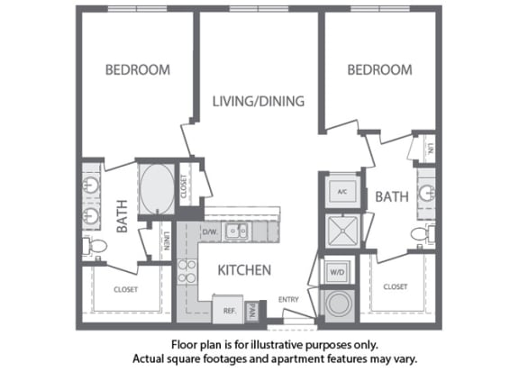 Floor Plan  I - 2 Bedroom 2 Bath Floorplan at Windsor at Cambridge Park, Massachusetts, 02140