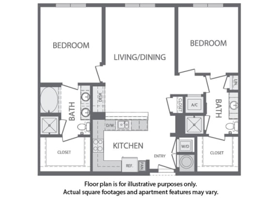 Floor Plan  K - 2 Bedroom 2 Bath Floorplan at Windsor at Cambridge Park, Cambridge, 02140