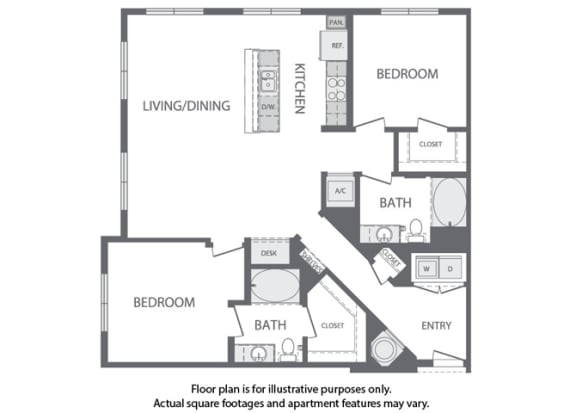 Floor Plan  L - 2 Bedroom 2 Bath Floorplan at Windsor at Cambridge Park, Massachusetts, 02140