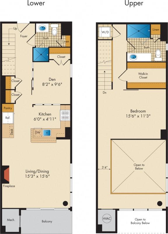 Floor Plan  1 Bed 2 Bath Den Loft 1E