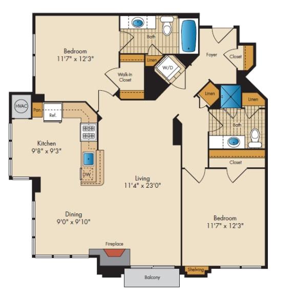 Floor Plan  2 Bed 2 Bath 2B