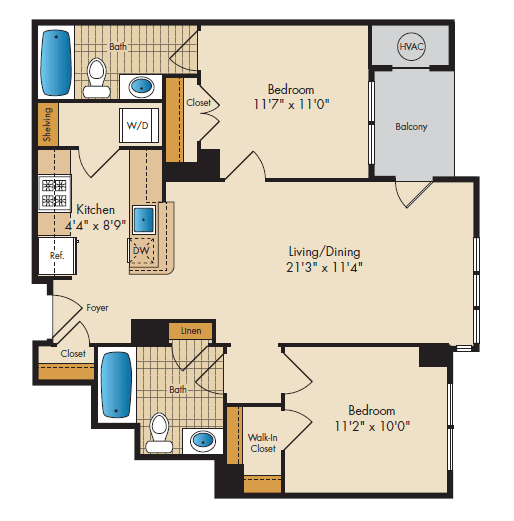 Floor Plan  2 Bedroom 2G Floor Plan at Highland Park at Columbia Heights Metro, Washington