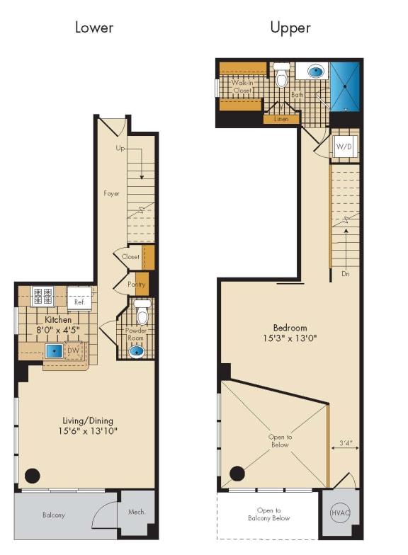 Floor Plan  1 Bed 1.5 Bath Loft 1Q