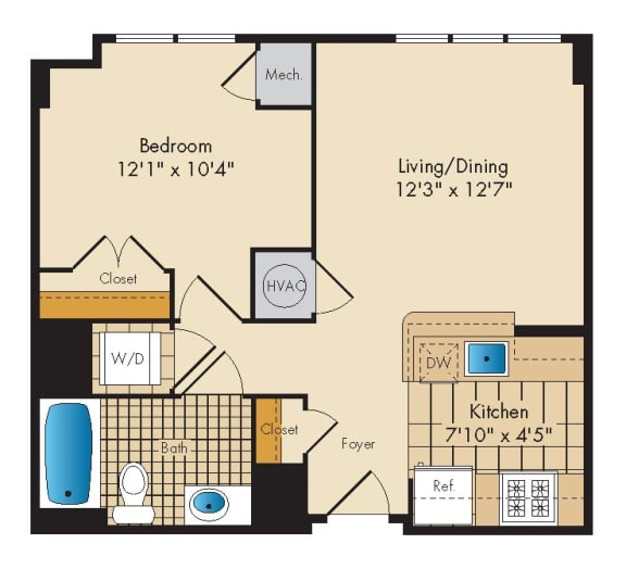 1 Bedroom 1A Floor Plan at Highland Park at Columbia Heights Metro, Washington, Washington