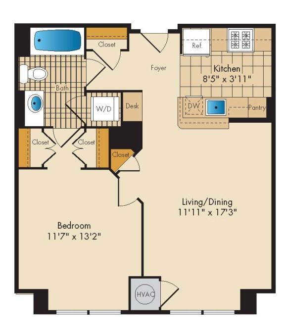 Floor Plan  1 Bedroom 1B Floor Plan at Highland Park at Columbia Heights Metro, Washington, DC