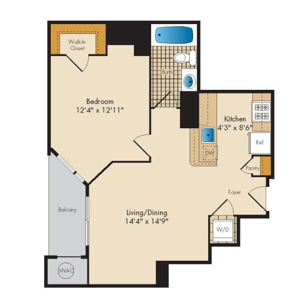 Floor Plan  1 Bed 1 Bath 1J