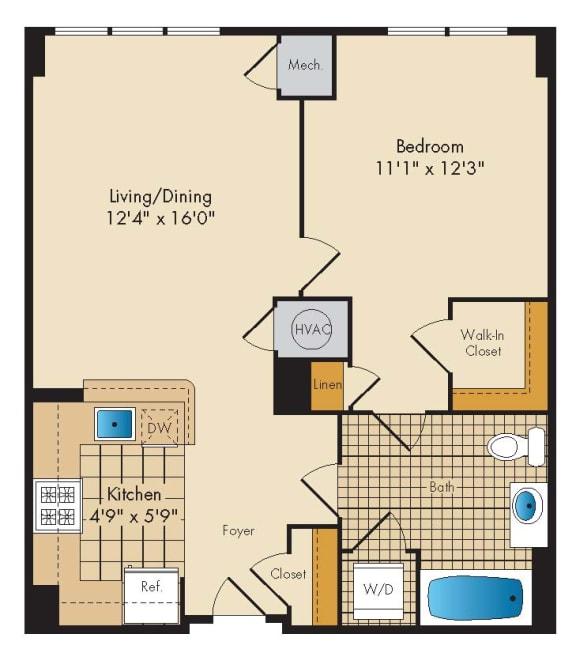 Floor Plan  1 Bed 1 Bath 1D-A
