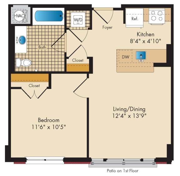 Floor Plan  1 Bed 1 Bath B4