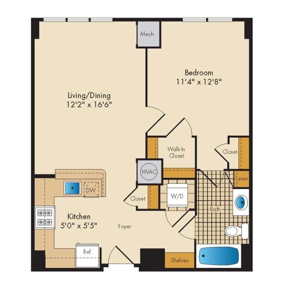 Floor Plan  1 Bed 1 Bath 1D