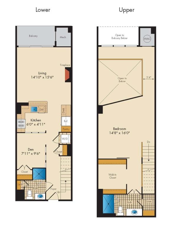 Floor Plan  1 Bed 2 Bath Den Loft 1S