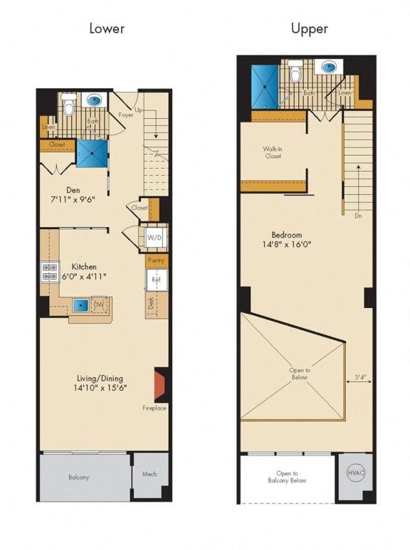 Floor Plan  1 Bed 2 Bath Den Loft 1SBA