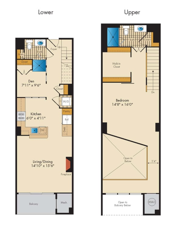 Loft with Den 1SBA Floor Plan at Highland Park at Columbia Heights Metro, Washington, Washington