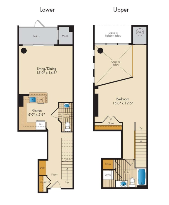 Floor Plan  1 Bed 1.5 Bath Loft 1R