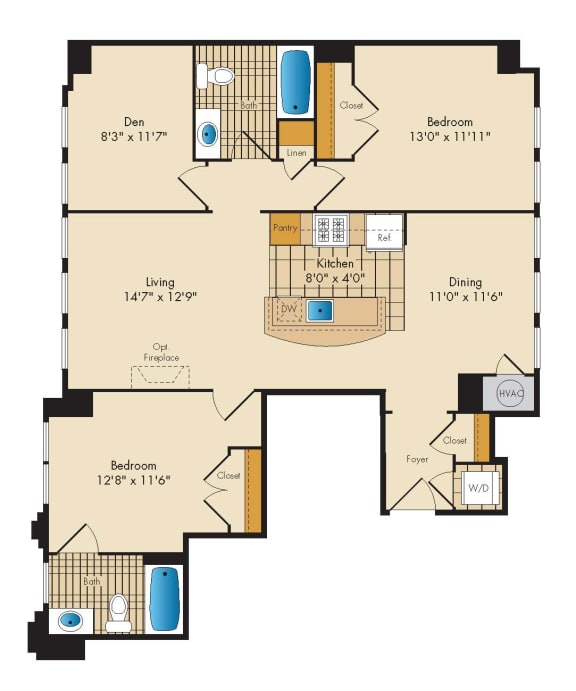 2 Bedroom with Den 2D Floor Plan at Highland Park at Columbia Heights Metro, Washington, DC, 20010