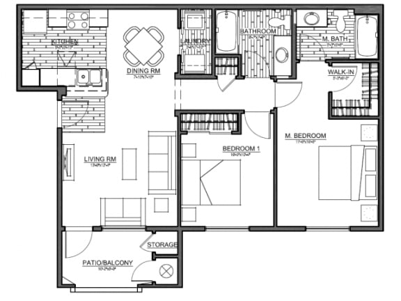 Boulder Pointe 2 Bedroom floor plan, 976 square