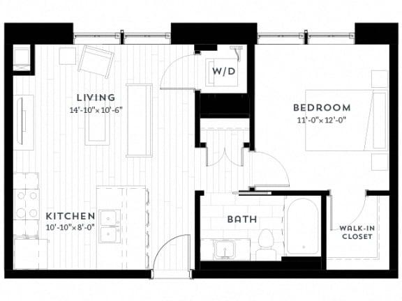 Floor Plan  1E upgrade Floor plan at Custom House, St. Paul, 55101