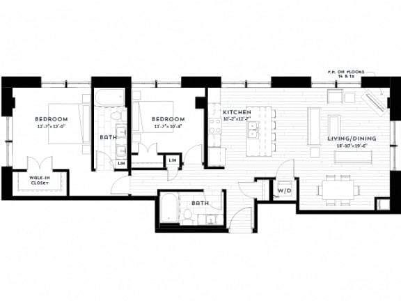 Floor Plan  2J upgrade Floor plan at Custom House, St. Paul, MN 55101