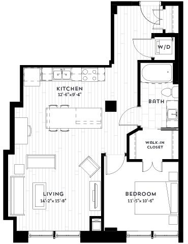 1S Floor plan at Custom House, St. Paul, MN 55101