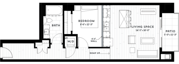 Floor Plan  1W Floor plan at Custom House, St. Paul