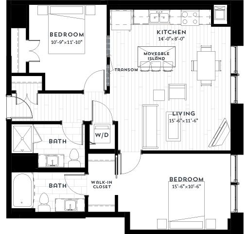 2A Floor plan at Custom House, St. Paul