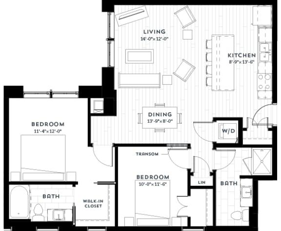 2F Floor plan at Custom House, St. Paul, MN