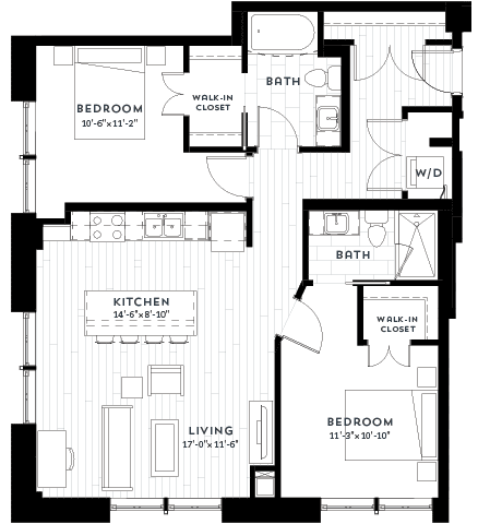 2G Floor plan at Custom House, Minnesota, 55101