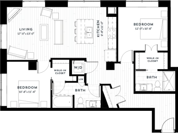 Floor Plan  2H Floor plan at Custom House, St. Paul, 55101