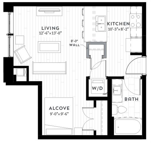 A1 Floor plan at Custom House, St. Paul, Minnesota
