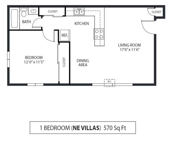 Floor Plan  Northeast Villas Apartments in Fridley, MN 1 Bedroom 1 Bath