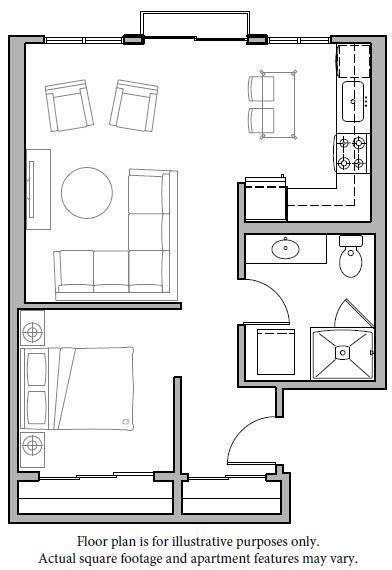 Floor Plan  Floorplan at The Whittaker, Seattle, WA 98116
